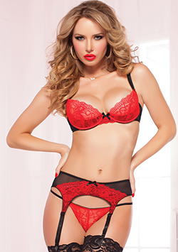 Lace Bra Set  Red