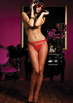 Diamond Fishnet Panty Red Rojo - Talla Única