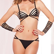 Strappy Elatic 3 Piece Bra Set  Black Talla Unica