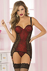 Lace & Dot Mesh Chemise & Thong Red