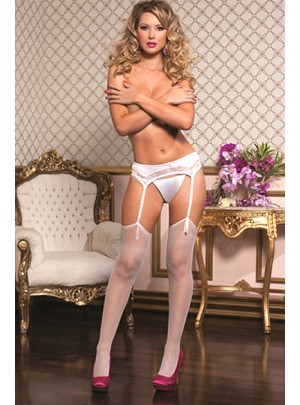 Fashion Pantyhose Red Blanco T.U.
