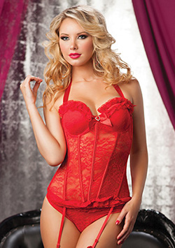 Some Like It Hot Bustier & Thong Rojo
