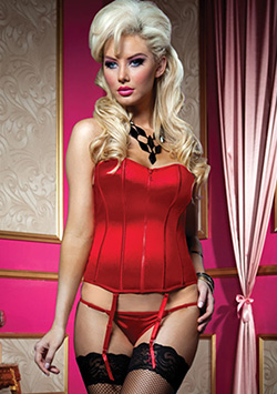 Perfectly Polished Corset & Thong Rojo