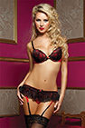 Naugthy Little Secret Bra, garter &Thong Negro